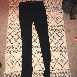 Black skinny distress jeans